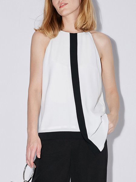 White-black Asymmetric Casual Tanks