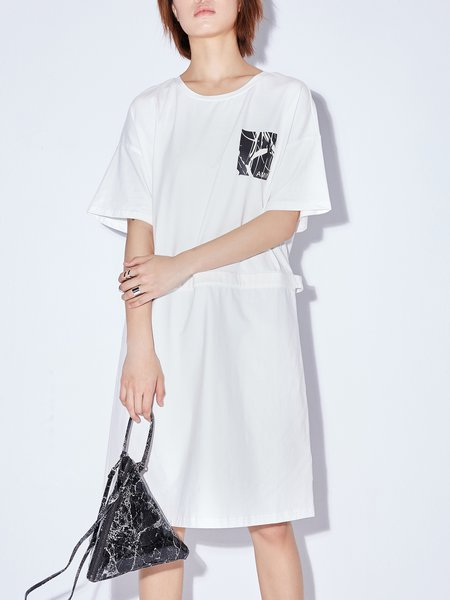 Crew Neck Casual Shift Short Sleeve Midi Dress