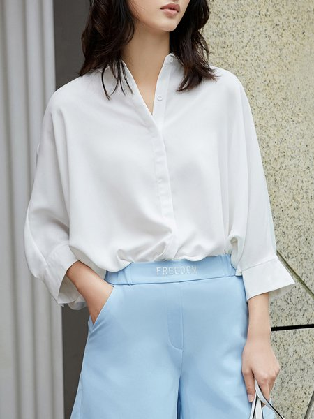 Orange Solid Casual Polyester Shirt Collar Blouse