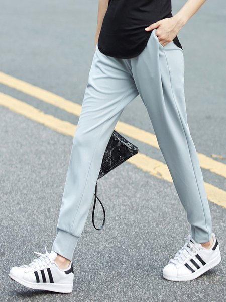 Casual Polyester Straight Leg Pant