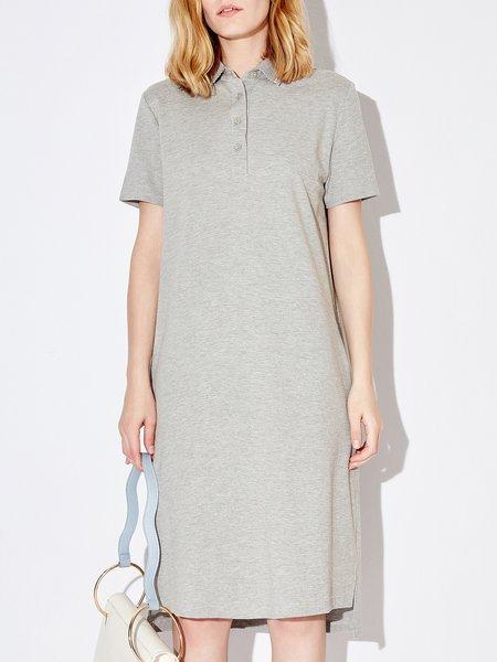 Cotton Casual Shirt Collar Midi Dress