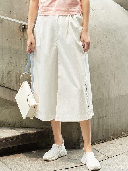 White Casual Printed Cotton Wide Leg Pants