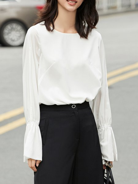 Crew Neck Bell Sleeve Girly Cutout Blouse