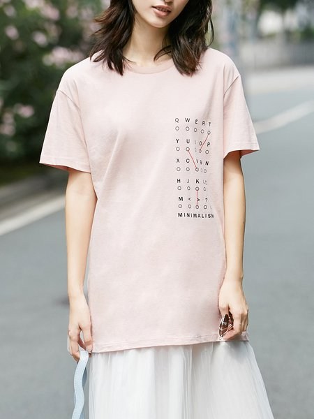 Letter Cotton Printed Short Sleeve T-Shirt