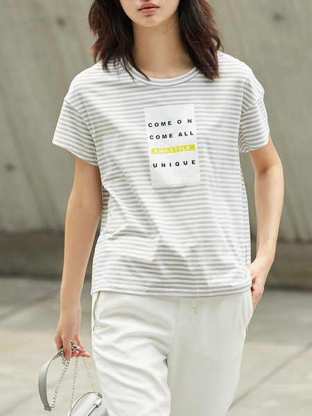 Gray Printed Casual Stripes T-Shirt
