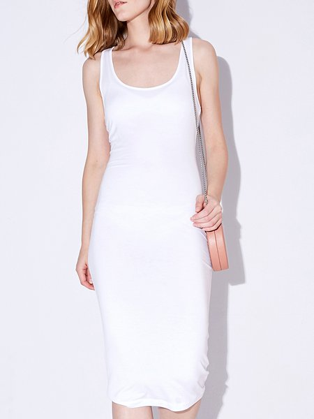 White Sleeveless Modal Solid Midi Dress