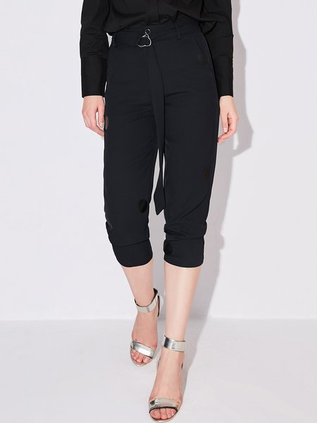 Printed Casual Polyester Cropped Pants
