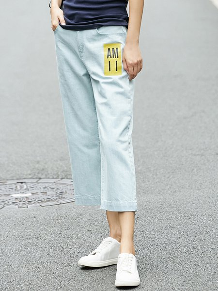 Light Blue Casual Printed Cotton Jeans