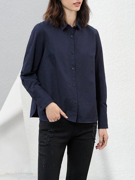 Shirt Collar Long Sleeve Casual Slit Cotton Blouse