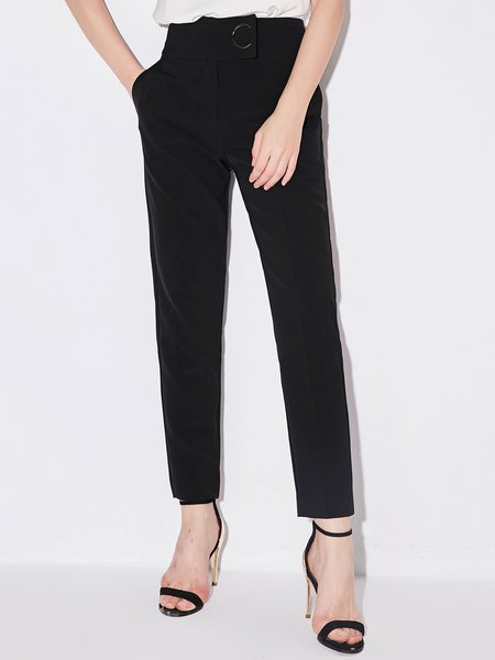Casual Solid Straight Leg Pants
