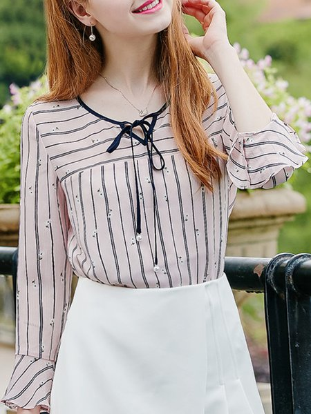Pink H-line Casual Tops