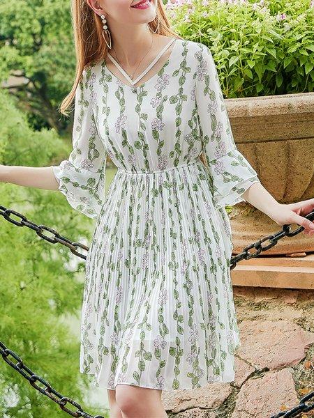 White Bell Sleeve V-Neck Printed  Midi Dress