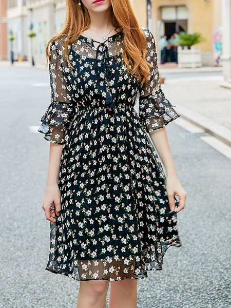 Black Bell Sleeve Floral Midi Dress