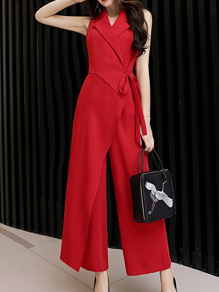 Polyester Work Sleeveless Solid Jumpsuit