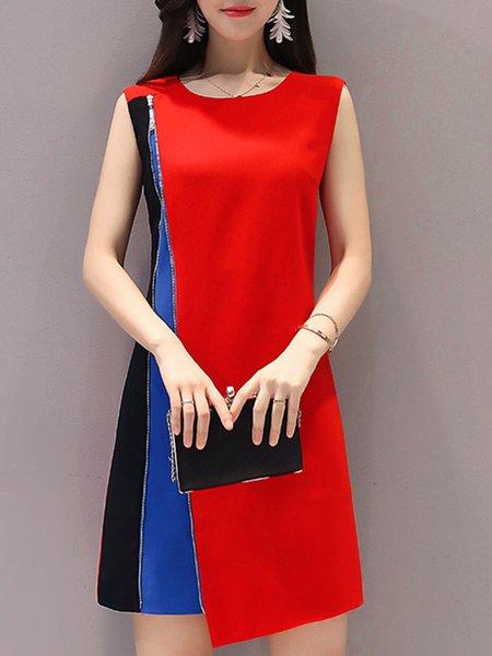 Asymmetric Color-block Paneled  Work Crew Neck A-line Polyester Midi Dress
