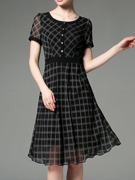 Short Sleeve Checkered/Plaid A-line Casual Chiffon Dress