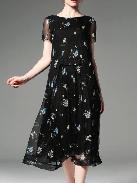 Black Printed Short Sleeve Silk A-line Midi Dress