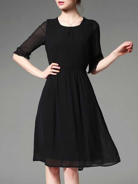 Solid Half Sleeve Casual Midi Dress