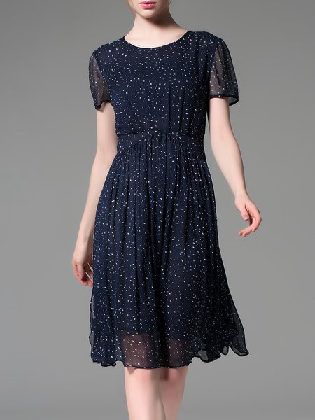 Navy Blue Short Sleeve Crew Neck Printed A-line Midi Dress