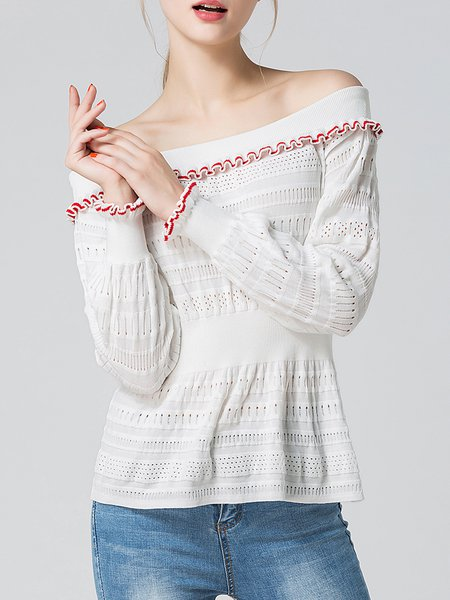 White Solid Casual Knitted Crew Neck Sweater
