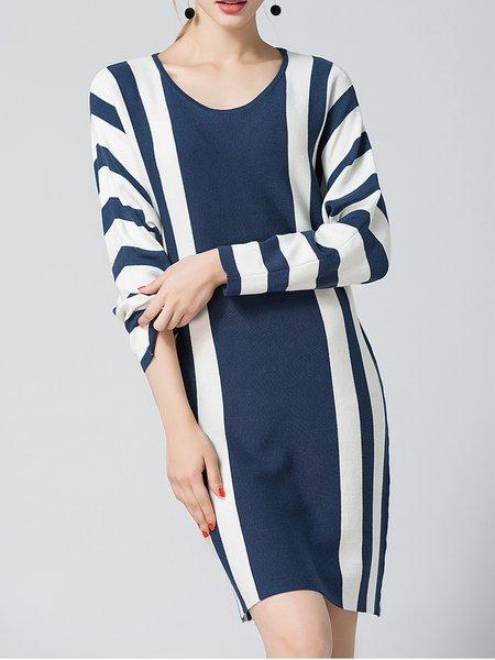 Blue Knitted Long Sleeve Midi Dress