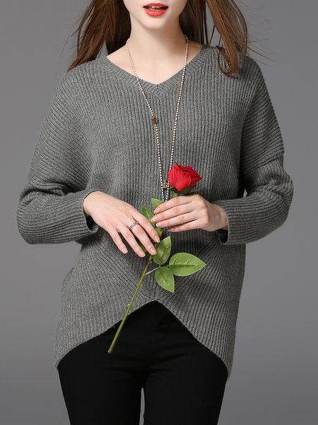 Knitted Casual V Neck Sweater