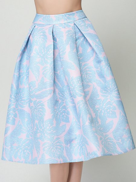 Light Blue A-line Girly Printed Midi Skirt