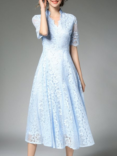 Sky Blue Elegant A-line Guipure Lace V Neck Midi Dress