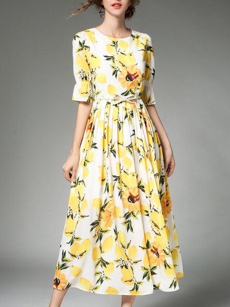 Floral Crew Neck Half Sleeve Printed Elegant Midi Dress