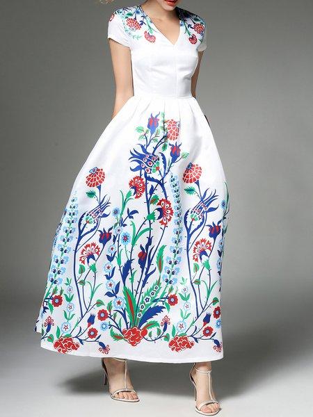 Short Sleeve Printed V Neck Floral Elegant Maxi Dress
