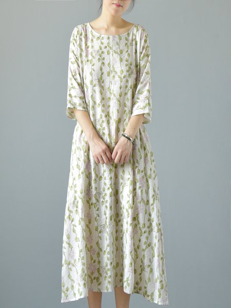 Light Green Leaf Print 3/4 Sleeve Midi Dress