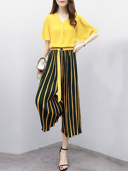 Stripes Two Piece Cotton V Neck Bell Sleeve Top With Pants With Belt