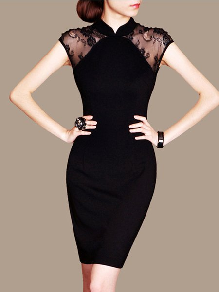 Elegant Bodycon Stand Collar Short Sleeve Nylon Midi Dress