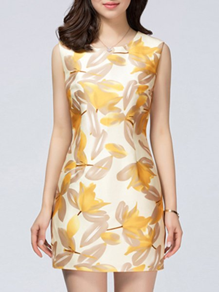Floral-print  Elegant Sleeveless Mini Dress