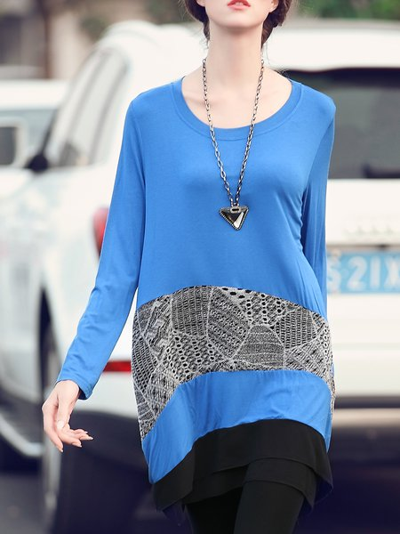 Asymmetric Cotton Paneled Lace Long Sleeve Crew Neck Casual Tunic