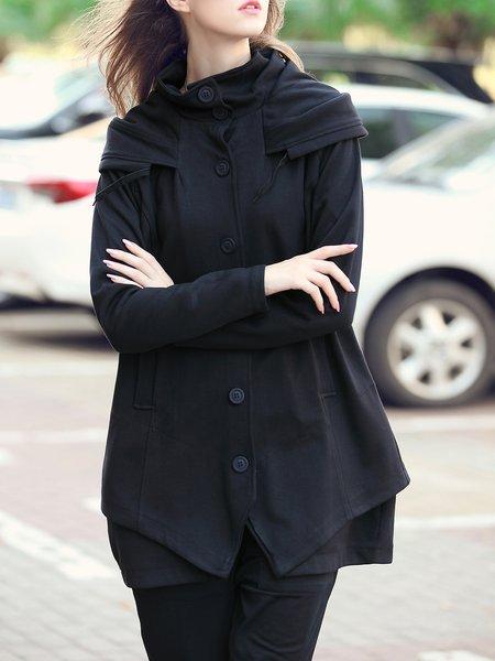 Black Hoodie Long Sleeve Buttoned Coat