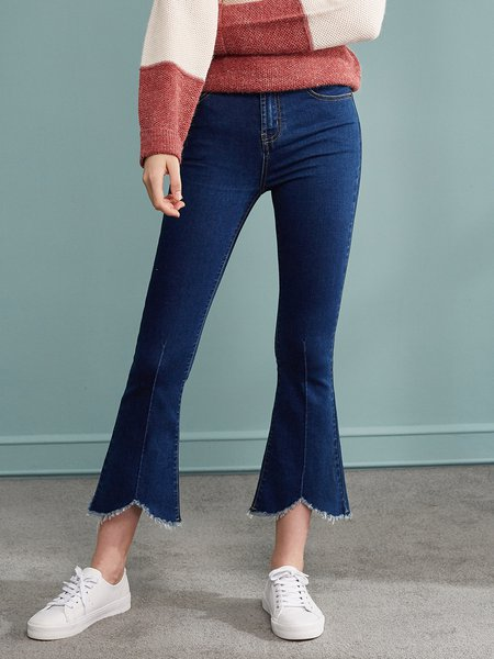 Blue Casual Solid Ripped Jean