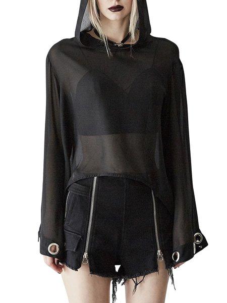 Black Solid Long Sleeve Hoodie Top