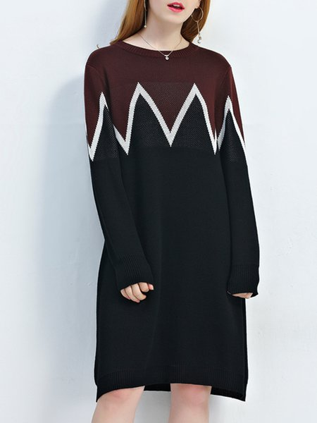 A-line Casual Long Sleeve Polyester Midi Dress