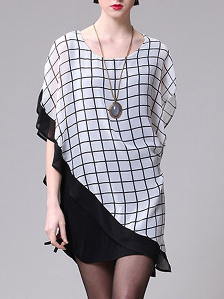Asymmetric  Batwing Crew Neck Casual Mini Dress