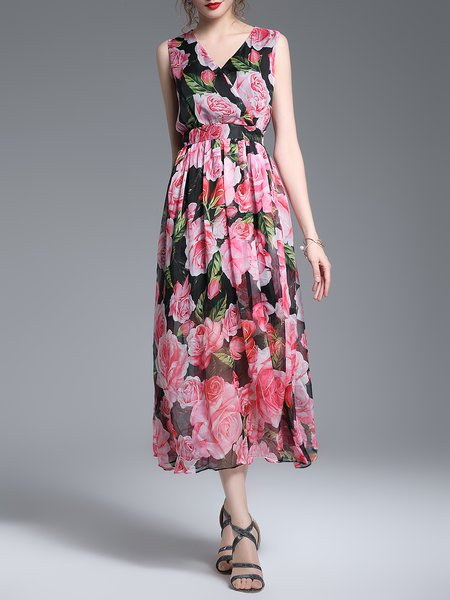 Sleeveless A-line Polyester Girly Floral Boho Dress