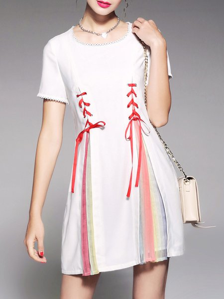 White A-line Crew Neck Shorts Sleeve Crochet-trimmed Bandage Mini Dress