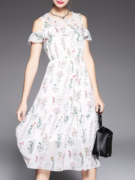 White Floral A-line Spandex Cold Shoulder Midi Dress