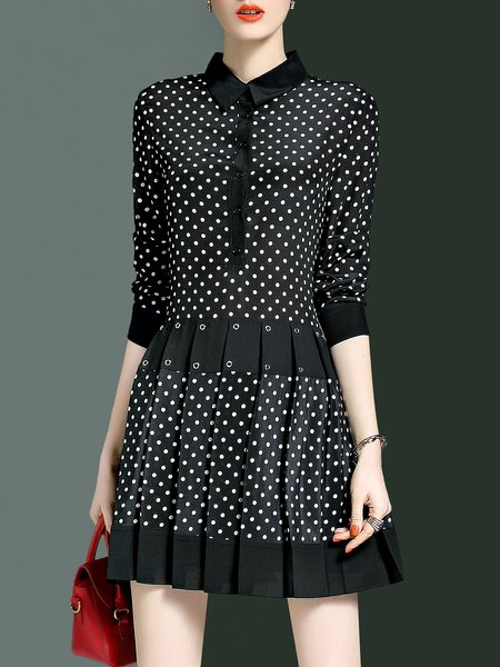 Black 3/4 Sleeve Polka Dots A-line Folds Mini Dress
