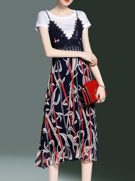 Multicolor Casual Appliqued Spaghetti Two Piece Dress With T-shirt