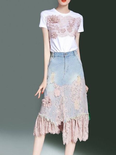 Pink Denim Short Sleeve Appliqued Dress With T-shirt