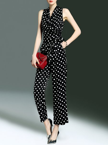 Black Surplice Neck Casual Bow Polka Dots Jumpsuit