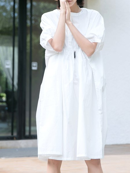 White Solid Stand Collar Casual Midi Dress