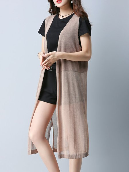 Solid H-line Sleeveless Knitted Cardigan