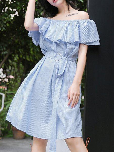 Light Blue Gathered Casual Midi Dress